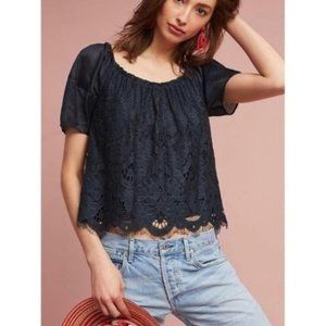 Anthropologie Blue Floral Lace Short Sleeves Top
